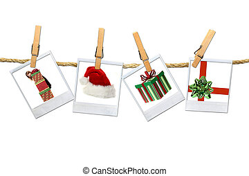 4 Christmas Related Photos Hanging on a Rope