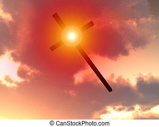 4, ciel, croix, jésus