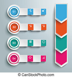 4 Circle Batched Banners Arrows - Arrows with squares and...