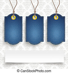 4 Classic Frayed Jeans Price Stickers Ornaments