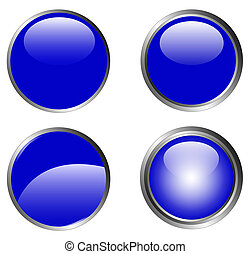 4 Classy Blue Buttons - 4 Classy Blue Web Buttons with...