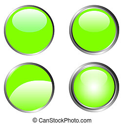 4 Classy Green Buttons - 4 Classy Green Web Buttons with...