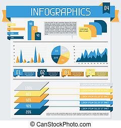4., collection., elementi, set, infographics