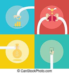4 Collection set for money profit Income business concept....