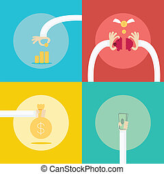 4 Collection set for money profit Income business concept. Flat Design. Illustration.