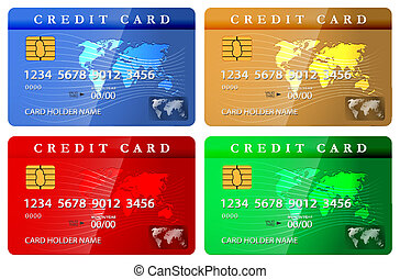 4 color credit or debit card design template. Vector...