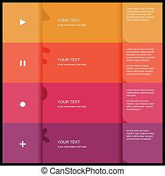 4 color flat design template - Vector Illustration
