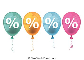 4 Colored Balloons Percents