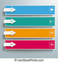 4 Colored Banners Squares Arrows - Arrows with banners on...