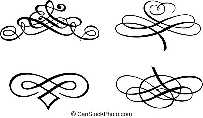 4, curves., 바로크, 벡터, illustration.
