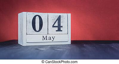 4, date, année, printemps, beau, 4ème, saison, symboles, la plupart, blocs, blanc, -, mai, positif
