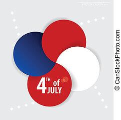 4, day., vector, achtergrond, juli, onafhankelijkheid, design.