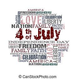 4 de julho, feliz, dia independência