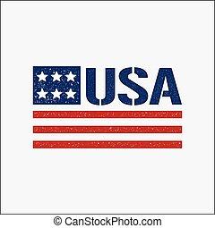 4 de julho, patriótico, bandeira, vindima, logo., vetorial, projeto gráfico