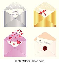 4 decorative envelopes on isolated background