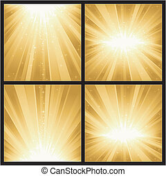 4, diferente, dorado, luz, estallidos, con, magia, stars., grande, para, festivo, temas, como, navidad, o, nuevo, years.