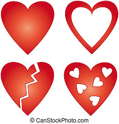 4 different red hearts