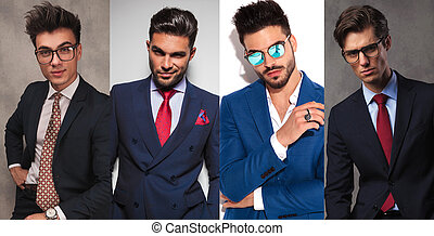 4 different young business men