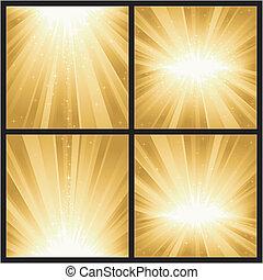 4, differente, dorato, luce, scoppi, con, magia, stars., grande, per, festivo, temi, come, natale, o, nuovo, years.