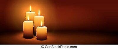 4, domingo, de, advenimiento, -, cuarto, vela, -, candlelight, panorama, bandera
