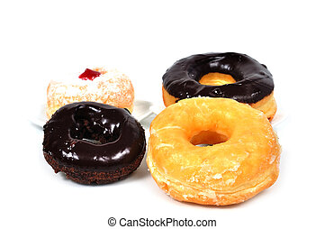 4, donuts, bianco, fondo