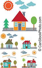 4, família, casas