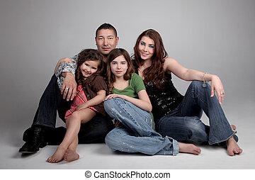 4, famille, heureux