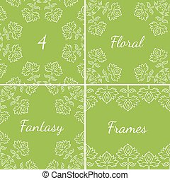 4 fantasy floral frames with leaves