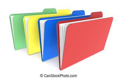4, fichiers, rouges, vert, jaune, et, rouges