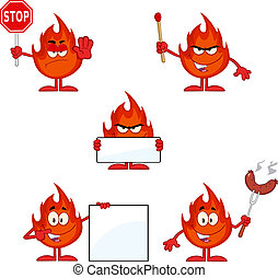 4., flamme, ensemble, caractère, collection