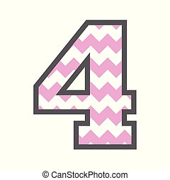 4 Four Chevron Number with colorful pink and white pattern & grey border