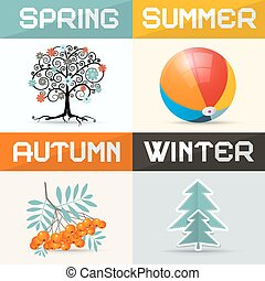 4 - Four Seasons Vector Illustration