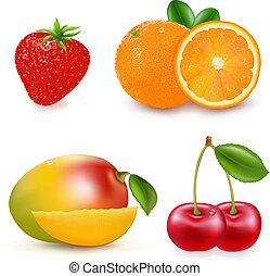 Fresh Fruits - 4 Fresh Fruits, Isolated On White Background,...