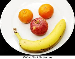 4 fruits on white plate