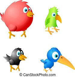4 funny birds vector - Red fat, green parrot, black crow and...