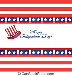 4, górny, celebrowania, bandera, ilustracja, kolor, wektor, powitania, amerykanka, lipiec, kapelusz, dzień, karta, niezależność