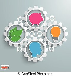 Gear machine with head, bulb, plant leaves and piggy bank on the gray background.
