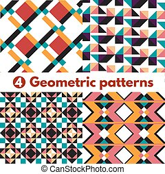 4 Geometric patterns ornament background