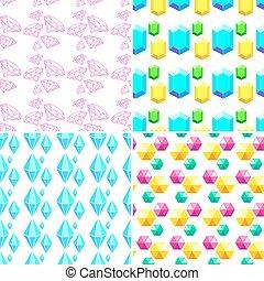 4 geometric seamless pattern with diamonds