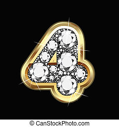 4, getal, goud, en, diamant, bling
