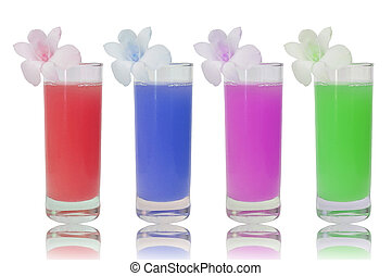 4 glasses of various fruit juices on white background