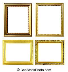 4 golden frame on white background
