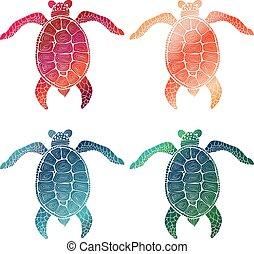 4 Gradient hand drawn turtles