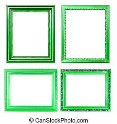 4 green frame on white background