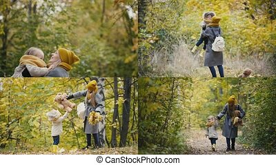 4 in 1: A young mother with a daughter on autumn forest