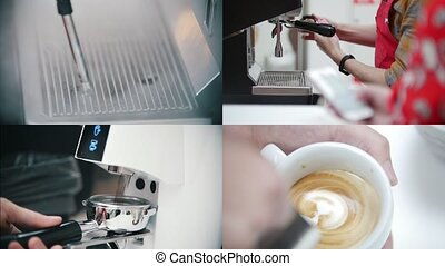 4 in 1 - barista making coffee in the coffee house. collage