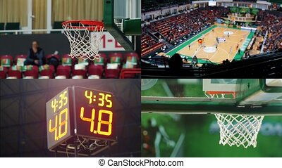 4 in 1 - basketball game. sports scoreboard with numbers,...