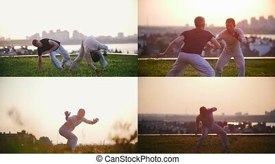 4 in 1: capoeira. two athletic men are involved in martial arts on a sunset