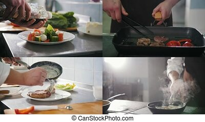 4 in 1: Chef preparing a varied meal - Steak Frying salad...