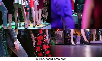 4 in 1 - fashion models walking on the stage. collage